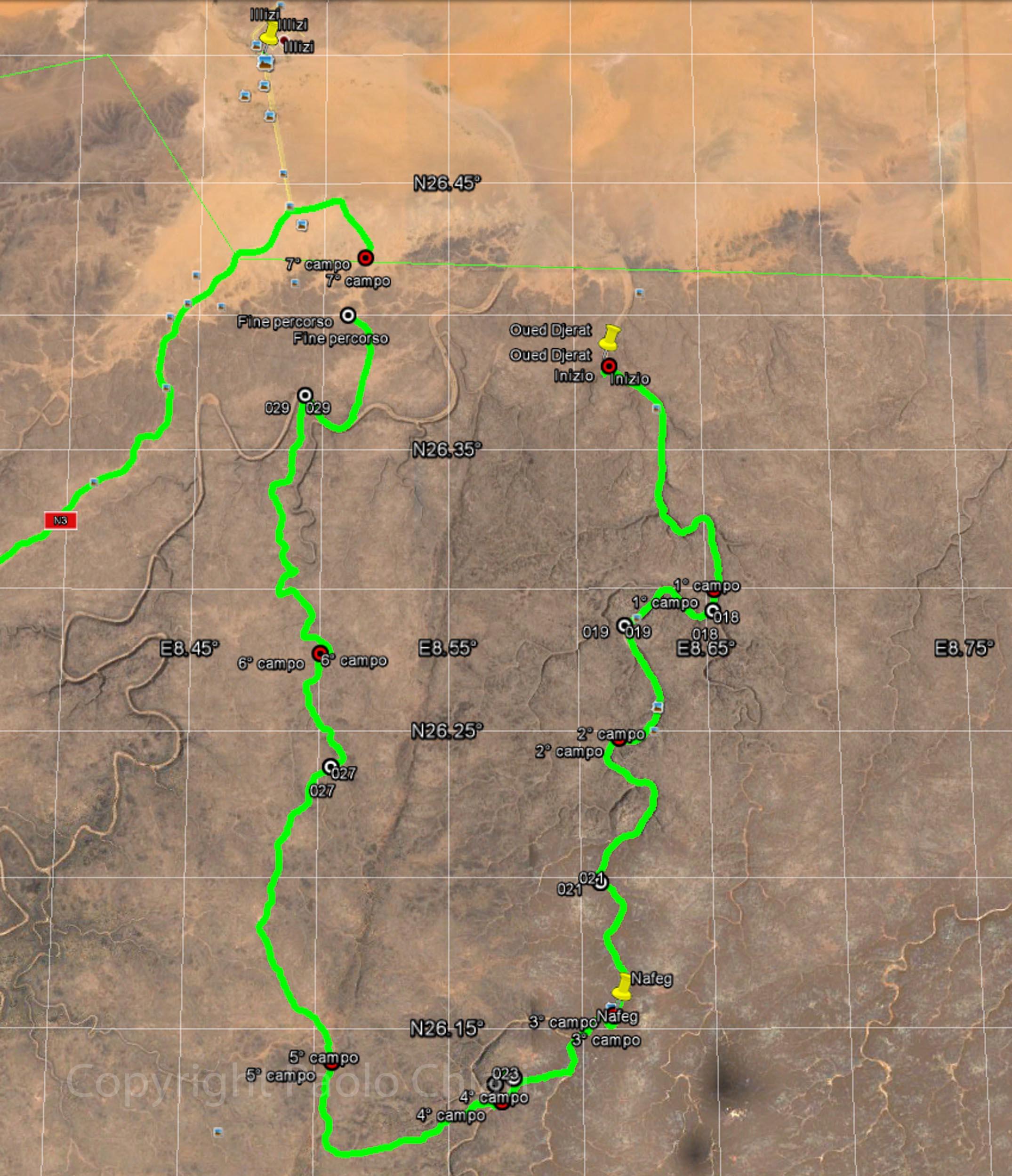 Il percorso di trekking lungo wadi Djerat