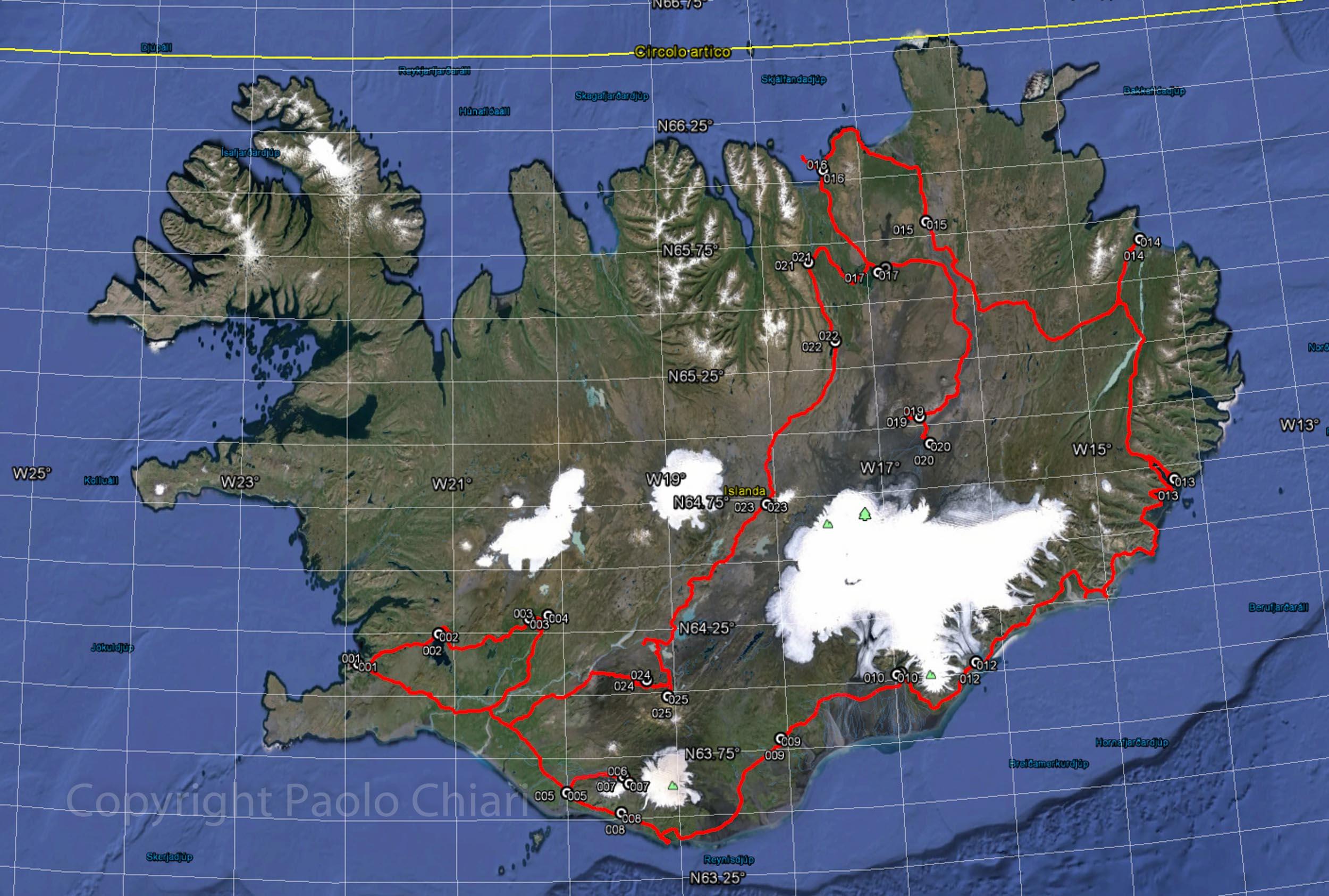 Il percorso in Islanda nel 2015