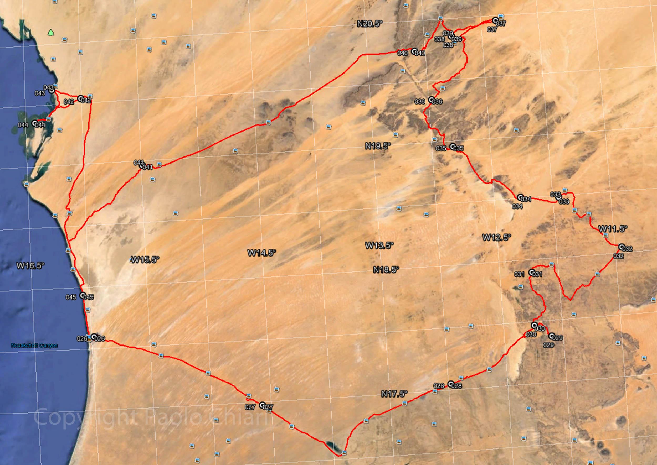 Il percorso in Mauritania nel 2015