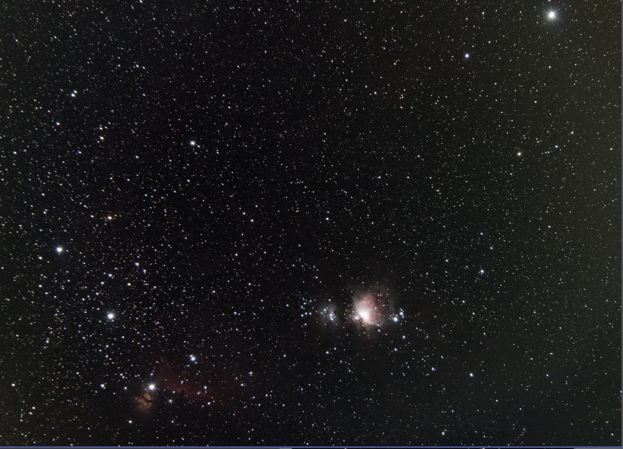 Area della cintura di Orione con la nebulosa M42
